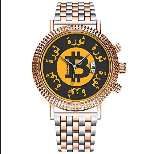 Mode wasserdichte Herren-Armbanduhr Analog Quarz Edelstahl Mit Gold 489.Bitcoin Revolution (Arabisch Version) Uhren