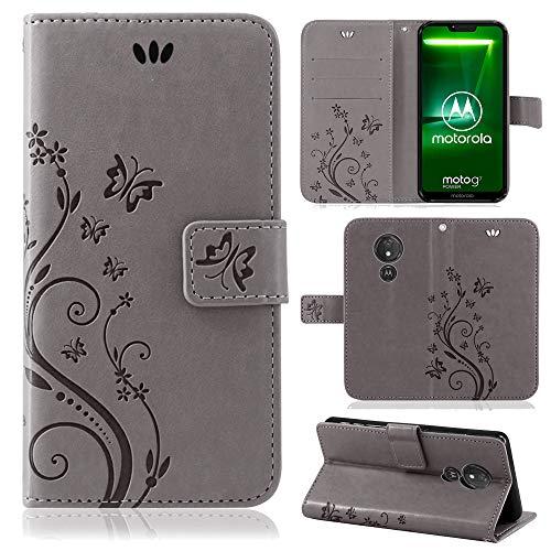 betterfon | Motorola Moto G7 Power Hülle Flower Case Handytasche Schutzhülle Blumen Klapptasche Handyhülle Handy Schale für Motorola Moto G7 Power Grau