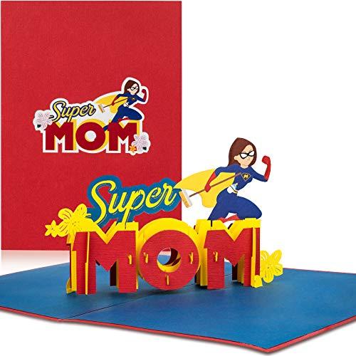 """PaperCrush® Pop-Up Karte """"Super Mom"""" - Lustige 3D Geburtstagskarte oder Geschenkkarte für die beste Mama der Welt - Glückwunschkarte zur Geburt, Geburtskarte für Mutter, Glückwunsch zum Baby"""