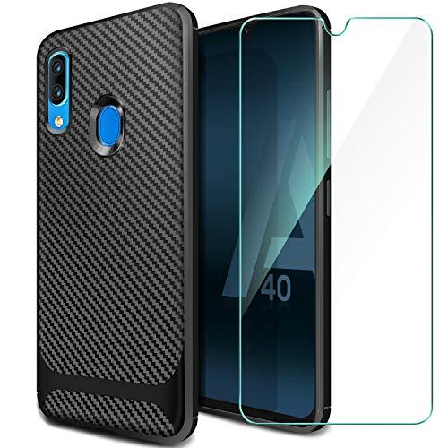 ivencase Samsung Galaxy A40 Hülle + Panzerglas Displayschutzfolie, Schutzhülle Silikon Schwarz Case Soft TPU Handyhülle Carbon Fiber Cover für Samsung Galaxy A40