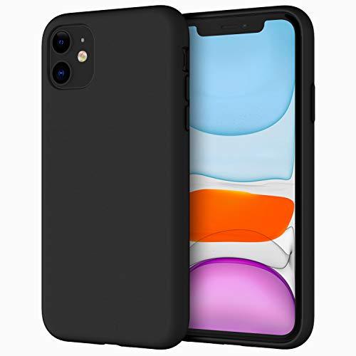 JETech Silicone Hülle für iPhone 11 (2019) 6,1-Zoll, seidigem Ganzkörper-Schutzhülle Case Cover, mit weichem Mikrofaser-Innenfutter stoßfestes Abdeckung (Schwarz)
