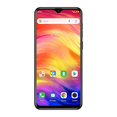 Ulefone Note 7 (2019) Smartphone ohne Vertrag Triple Kamera (AI Modus) 6,1 Zoll In-Cell Wassertropfen Bildschirm 16GB ROM 1GB RM 3500mAh Akku, Dual SIM Micro Nano Android Go Handy Günstige - Schwarz