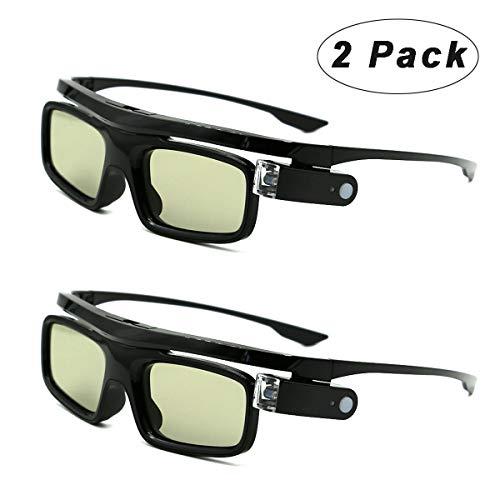 3D-Brille, 3D Active Shutterbrille Wiederaufladbare Brillen Geeignet für 3D DLP-Link Projektor Acer BenQ Optoma Viewsonic Philips LG Infocus Jmgo Vivitek Cocar Toumei - 2 Stück