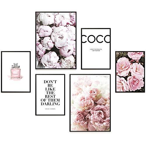 Heimlich® Premium Poster Set   Stilvolles Set mit passenden Bilder als Wohnzimmer Deko   2 x DIN A3 & 4 x DIN A4 - ca. 30x40 & 20x30   Auch mit Bilderrahmen » Coco «