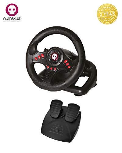 Numskull Multiformat-Lenkrad mit Pedalen - Für Playstation 3, PS4, PC und Xbox One - Realistisches Lenkrad-Controller-Zubehör für Konsolen-Auto-Rennsimulator-Fahrspiele