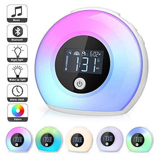 Nachtlampe mit Bluetooth Lautsprecher, Macrimo Dimmbar Stimmungslicht mit LCD Display/Smart Wecker, 4 Helligkeit, 5 Farbwechsel, Vibration sensor drahtlos Bettlampe für Schlaf Kinder Geschenk