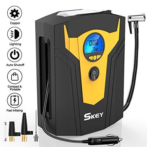 SKEY Luftkompressor 12V 150PSI Auto Luftpumpe Tragbare Reifen Inflator mit LED-Lichter Digital Kompressor für Autos, Motorräder, Fahrradreifen und andere Schlauchboote