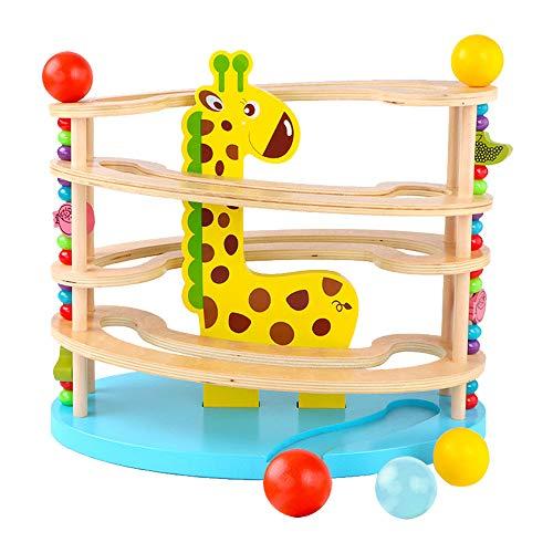 BeebeeRun Kugelbahn aus Holz , Spielzeug aus Holz für Kleinkinder,Murmelbahn mit 3 Kugels,Premium Holzkugelbahn mit Zubehör in leuchtenden Farben ,Spielzeug ab 1 Jahr