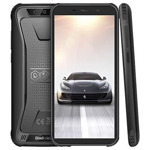 (2019) Blackview BV5500 Pro Outdoor Handy 4G Android 9.0 Pie mit IP68 Wasserdicht, Outdoor Smartphone Dual SIM 3GB RAM+16GB Speicher, 4400mAh Akku, 5.5 Zoll Display (NFC/GPS/Face ID/WiFi) Schwarz