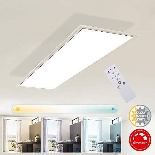 Briloner Leuchten Deckenlampe, LED Panel dimmbar, Farbtemperatursteuerung, inkl. Fernbedienung, 23W, 2.200 Lumen, Weiß, Kunststoff, 23 W, 1x250x48mm (LxBxH)