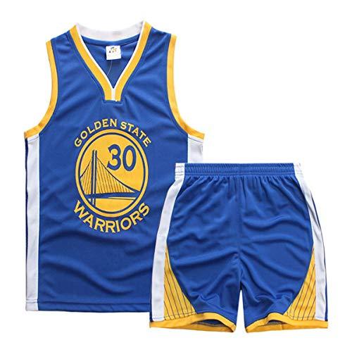 Formesy Basketball-Trikots Set für Kinder - NBA Warriors Curry#30 Basketball-Shirt Weste Top Sommershorts für Jungen und Mädchen