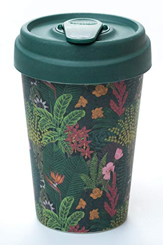 "BambooCup ""Jungle Look grün mit bunten Pflanzen Coffee-to-Go-Becher aus 100{29e47d8f7b4fbfb8391e0c6b3b1592be74d0e1c289328223c9fd134960bae9db} Bambus 400ml"