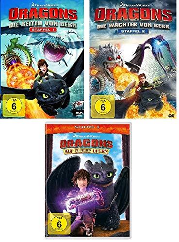 Dragons - Staffel 1 (Die Reiter von Berk) + Staffel 2 (Die Wächter von Berk) + Staffel 3 (Auf zu neue Ufern)im Set - Deutsche Originalware [12 DVDs]