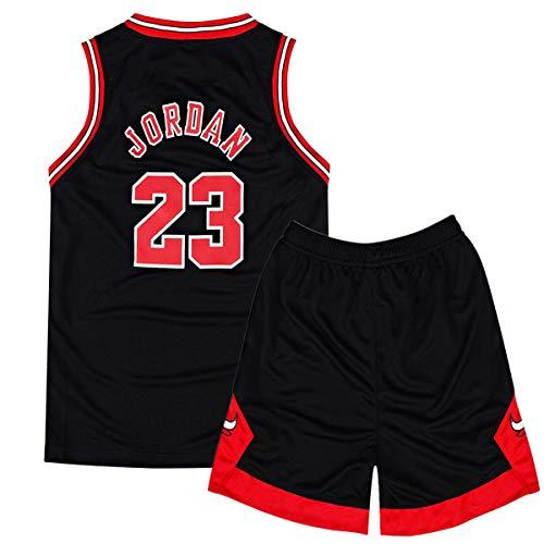 Rying Kinder Herren NBA Basketball Trikots Set - NBA Bulls Jordan#23 / Lakers James#23 / Warriors Curry#30 Basketball-Shirt Weste Top Sommershorts für Jungen und Mädchen