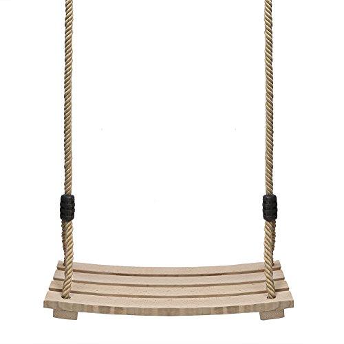 PELLOR Garten Schaukel Erwachsene Kinder Holz Schaukelsitz bis 100 kg mit Einstellbares Seil für Innen und Außenbereich