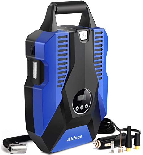 akface Luftkompressor Tragbare Auto Luftpumpe Digital Reifenfüller DC 12V 150PSI Mobile Kompressoren Luftverdichter für Auto Fahrradreifen (Blau)