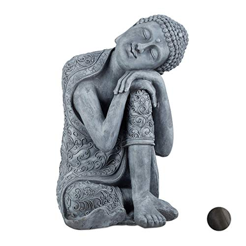 Relaxdays Buddha Figur geneigter Kopf, XL 60cm, Asia Deko, Gartenfigur, Dekofigur Wohnzimmer, frost- & wetterfest, grau