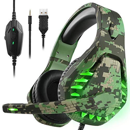 Gaming Headset für PS4 Xbox One PC Kopfhörer mit Mikrofon LED Licht Noise Cancelling Over Ear Kompatibel mit Nintendo Switch Games Laptop Mac PS3 (Camouflage Green)