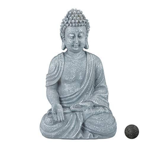 Relaxdays Buddha Figur sitzend 18cm, Dekofigur für Wohnzimmer, Bad und Garten, feuchtigkeitsresistent, Kunststein, grau