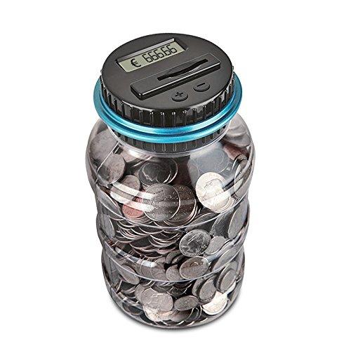 FORNORM Digitale Sparschwein-Zähler Automatische Münzzählglas Spardose Geld sparen Box Münze Spartopf Container mit LCD-Display und großer Kapazität für Kinder Erwachsene (1,8 Liter)
