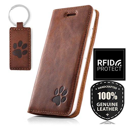 SURAZO Handy Hülle Für Samsung Galaxy S10e - Pfote - RFID Smart Magnet Nubuk Nussbraun - Glattleder Premium - Vintage Wallet Case