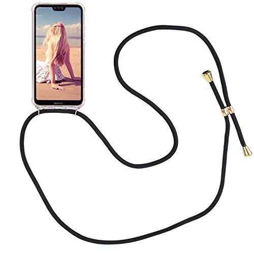 Imikoko Handykette Hülle für Huawei P20 Lite Necklace Hülle mit Kordel zum Umhängen Silikon Handy Schutzhülle mit Band - Schnur mit Case zum umhängen