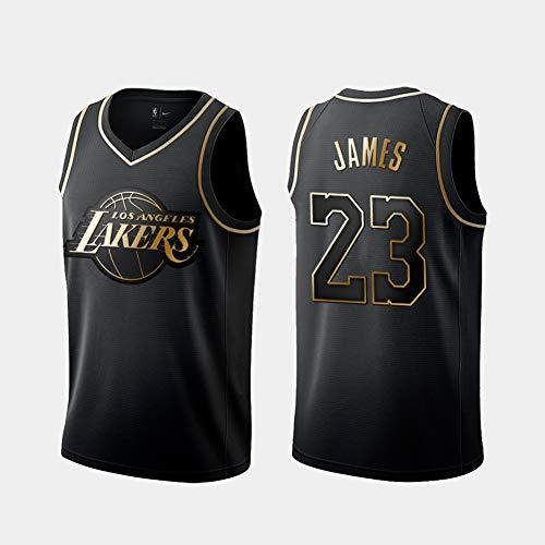 DCE Herren Jersey Trikot Lebron James # 23 Los Angeles Lakers Genähtes Swingman Trikot Basketball Trikot (Schwarzes & Gold, M(48))