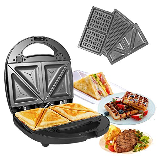 OZAVO Sandwichmaker, Sandwichtoaster, 3 in 1 Paninitoaster, Waffeleisen, Tisch-Grill, 3 abnehmbare Grillplatten, American Toast, Waffeln, Fleisch, mit 2 Kontrollleuchten, 750W