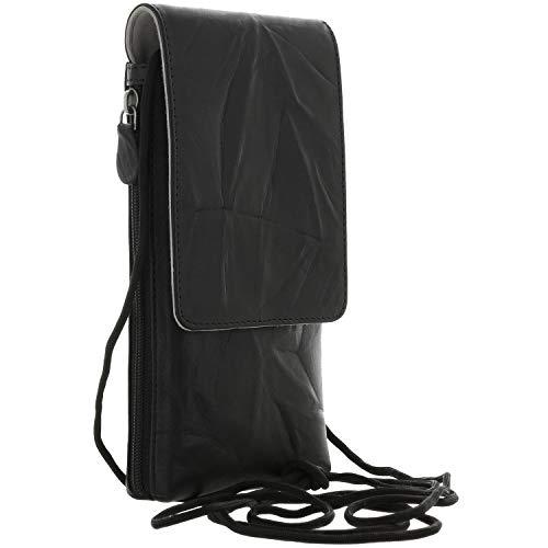 XiRRiX Herren Leder Umhängetasche/Handy Smartphone Brustbeutel zum Umhängen kompatibel mit Motorola Moto G8 / G9 Play - Samsung Galaxy A21s A42 A51 A52 A71 M11 M21 M51 / S20 FE - Tasche schwarz