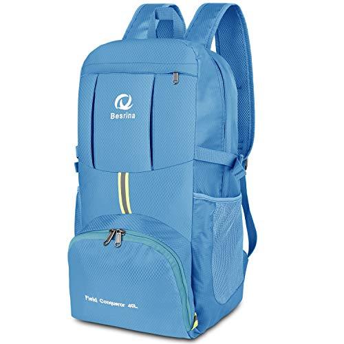 40L Ultraleicht Faltbare Rucksack, Wasserdichter Wanderrucksäcke Multipurpose Reiserucksack Daypack für Wandern Biken Trekking Klettern Bergsteiger Camping Schule Freizeit (Himmelblau)