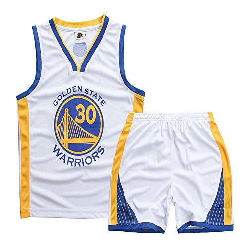 Jungen und Mädchen Basketball Trikots - Stephen Curry # 30 Kinder Basketball Shirt Weste Top Sommer Shorts NBA Golden State Warriors Jersey