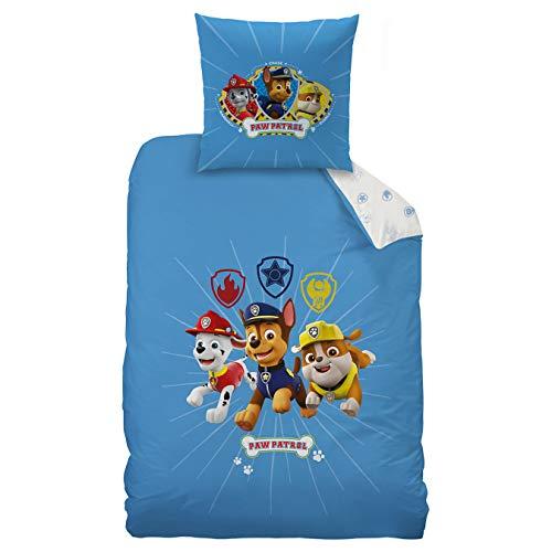 Paw Patrol Kinder-Bettwäsche Set 2 TLG. · für Jungen · Wendemotiv blau weiß · 1 Kissenbezug 80x80 + 1 Bettbezug 135x200 cm - 100{132b67cf1ba2fa510f2b9c88f00e1e80b440eec33be73f3603b53111487ee054} Baumwolle
