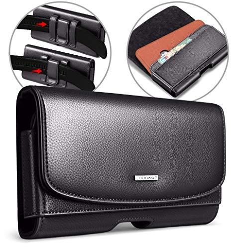 nuoku Handy Gürteltasche für Max 5,8 Zoll Smartphones Handytasche mit Kartenfach Ledertasche für Apple iPhone XS iPhone X iPhone 8 7 6/6s für Herren(Max 5,8 Zoll) (5.8 Black)