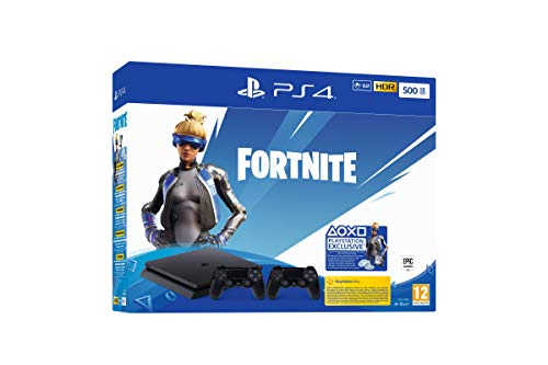 PlayStation 4 Slim (500GB, Jet Black) + 2 Controller: Fortnite Neo Versa Bundle