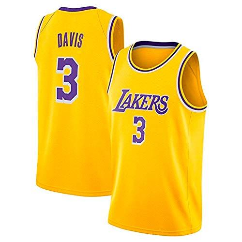 A-lee Herren Basketball Trikots- #3 Anthony Davis Lakers Jersey, NO.3 Anthony Davis,Swingman Ärmelloses Top Für Herren Und Unisex (Gelb-1, XL)