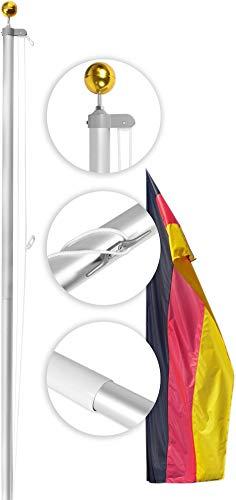 normani Aluminium Fahnenmast inkl. Deutschland Fahne + Bodenhülse + Zugseil in verschiedenen Höhen wählbar Größe 8.0 m