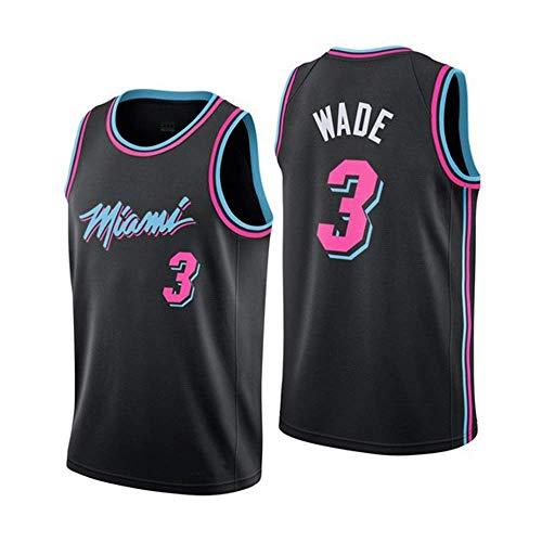 JINHAO Herren Basketball Trikot NBA Miami Heat # 3 Dwyane Wade Mesh Basketball Swingman Trikot (Schwarz5, XXL)