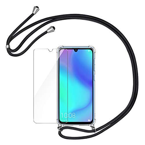 AROYI Handykette Handyhülle und Panzerglas Schutzfolie kompatibel mit Huawei P30 Lite Hülle mit Kordel zum Umhängen Necklace Hülle mit Band Transparent Case Schwarz Silber
