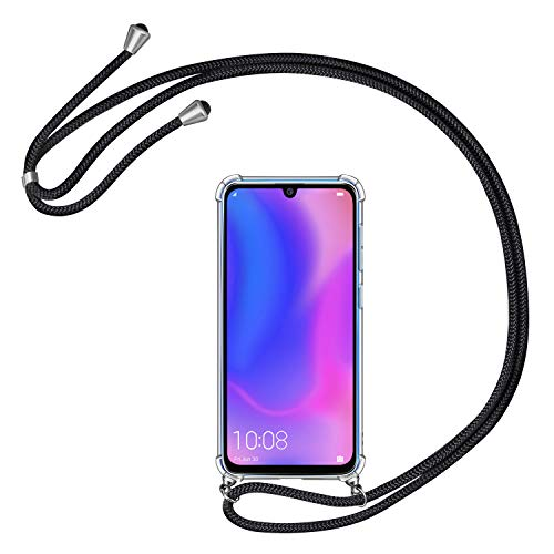 AROYI Handykette Handyhülle für Huawei P30 Pro Hülle mit Kordel zum Umhängen Necklace Hülle mit Band Schutzhülle Transparent Silikon Acryl Case für Huawei P30 Pro -Schwarz