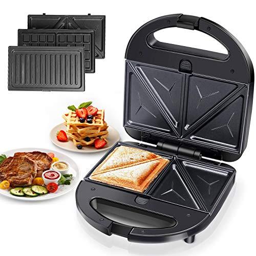 Sandwichmaker 3in1, Sandwich Grill, Waffeleisen, Panini Grill 750W,AntihaftbeschichteteabnehmbarePlatten,CoolTouchGriffe