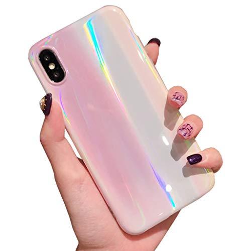 Bakicey iPhone Xr Hülle, iPhone XR Handyhülle Weich Silikon Schutzhülle Ultra Dünn Damen Mode Chic Bling Bumper Kratzfeste Stoßfest Tasche Case Cover Hülle für Apple iPhone Xr (Laser)