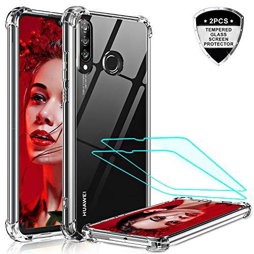 LeYi für Huawei P30 Lite Hülle P30 Lite New Edition Handyhülle mit Panzerglas Schutzfolie (2 Stück), Transparent Cover Bumper Schutzhülle Handy Hüllen für Case Huawei P30 Lite 2020 Crystal Clear