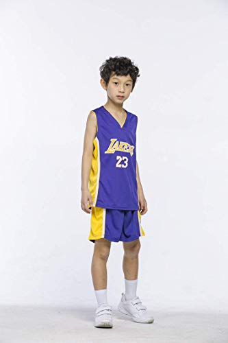 Basketball-Trikots Set für Kinder - Lakers James#23 Basketball-Shirt Weste Top Sommershorts für Jungen und Mädchen (Lila, L)