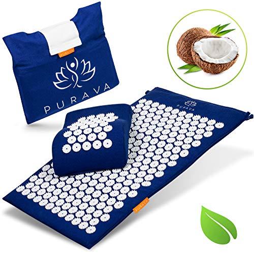LAVUR Home & Living ® Premium Akupressurmatte - Inklusive E-Book mit Anleitung und Anti Stress Guide - Umweltfreundliche Massagematte gefüllt mit Kokosfasern - Mit Gratis Transporttasche
