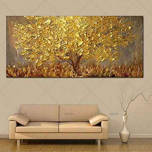 SUNNYWLH Wandbild Handgemalte Messer Gold Baum Ölgemälde Auf Leinwand Große Palette 3D Gemälde Für Wohnzimmer Moderne Abstrakte Wandkunst Bilder