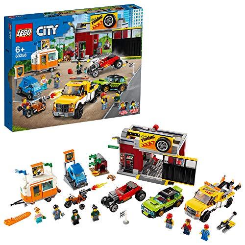 LEGO60258CityTuning-Werkstattmit Spielzeugautos, Bausteine, Abschleppwagen,HotRod,WohnanhängerundMotorrad für Kinder