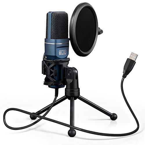 TONOR PC Mikrofon USB Computer Kondensatormikrofon Gaming Mikros Plug & Play mit Stativ und Pop-Filter für Podcasts, Streaming, für iMac PC Laptop Desktop Windows Computer
