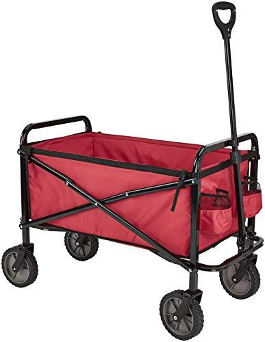 Amazon Basics Zusammenklappbarer Bollerwagen für den Garten, faltbar, mit Abdeckung, für den Außenbereich, Rot