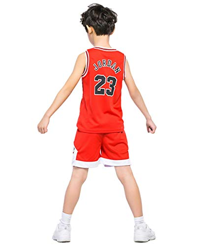 Basketball-Trikots Set für Kinder - Bulls Jordan#23 Basketball-Shirt Weste Top Sommershorts für Jungen und Mädchen (Rot - Bulls Jordan #23, L)