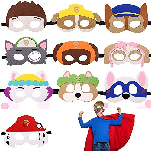 Puppy Party Masken,Paw Dog Patrol Spielzeug,Puppy Party Masken,Geburtstag Augenmaske,Charakter Masken,Halbmasken Kinder,Tiermasken,10 Stück Kinder Cosplay Masken ,Cosplay Party Masken